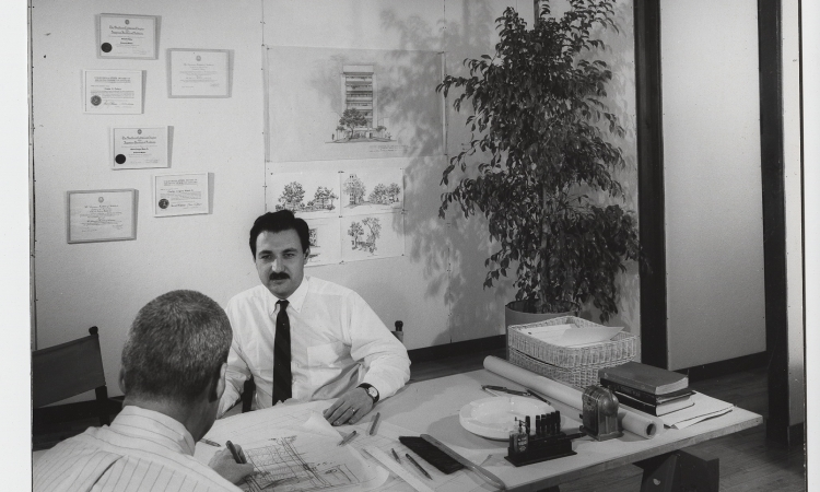 In his San Vicente office, 1960s - © Marvin Rand
