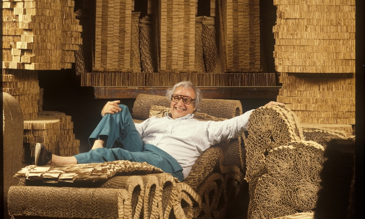 With some of his cardboard furniture designs, 1980s